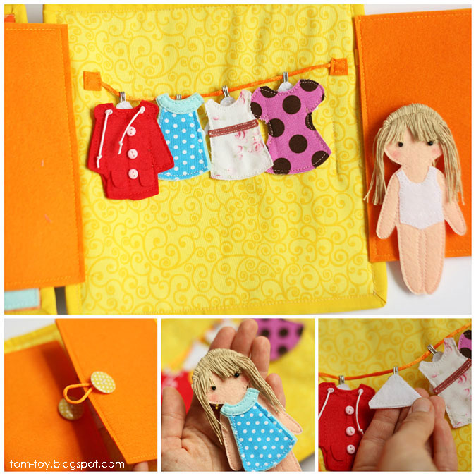 Quiet book for Madison - children's activity fabric busy book, dressing page, felt doll, clothes, развивающая книжка, кукла из фетра с одеждой