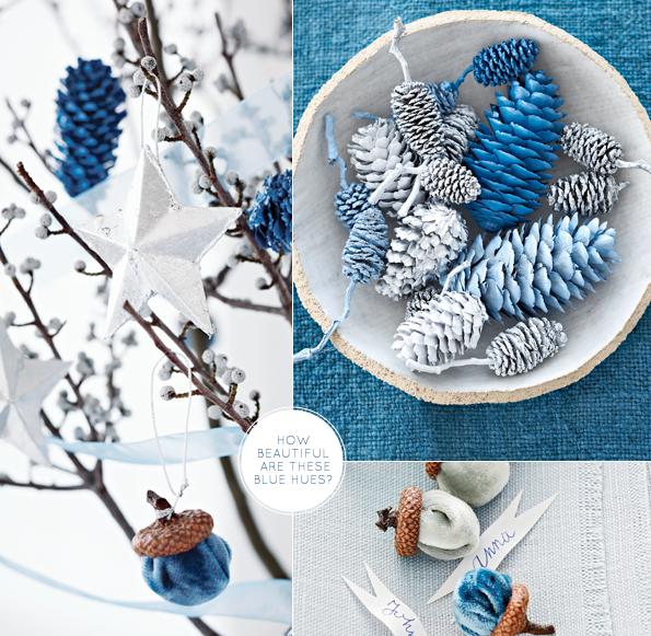 Blue & silver pinecones