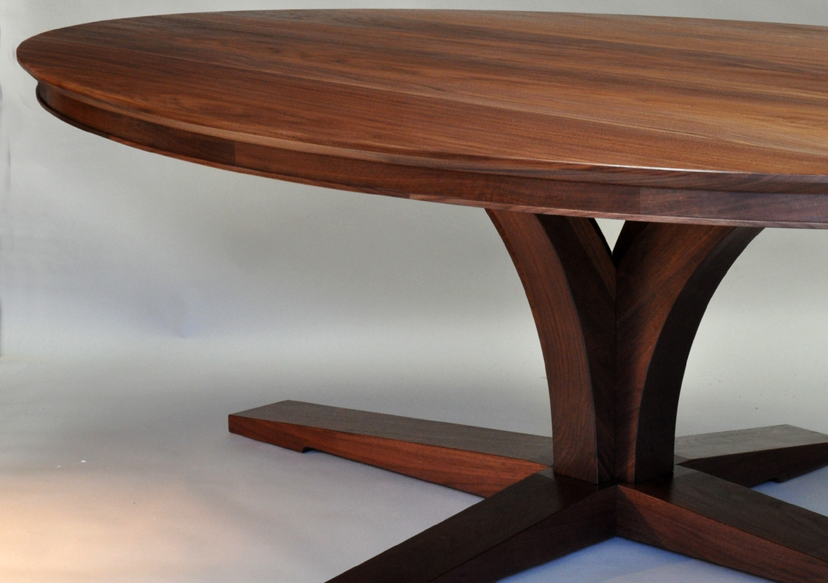 dorset custom furniture  a woodworkers photo journal two oval tables - the long crosspieces and bolted engineering also made this base extremelyrigid