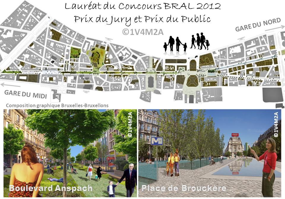 """Mise en piétonnier des boulevards du Centre - """"Parc Anspach"""" - Concours BRAL 2012 - Lauréat Prix du Jury + Prix du Public - 1V4M2A - Bruxelles-Bruxellons"""