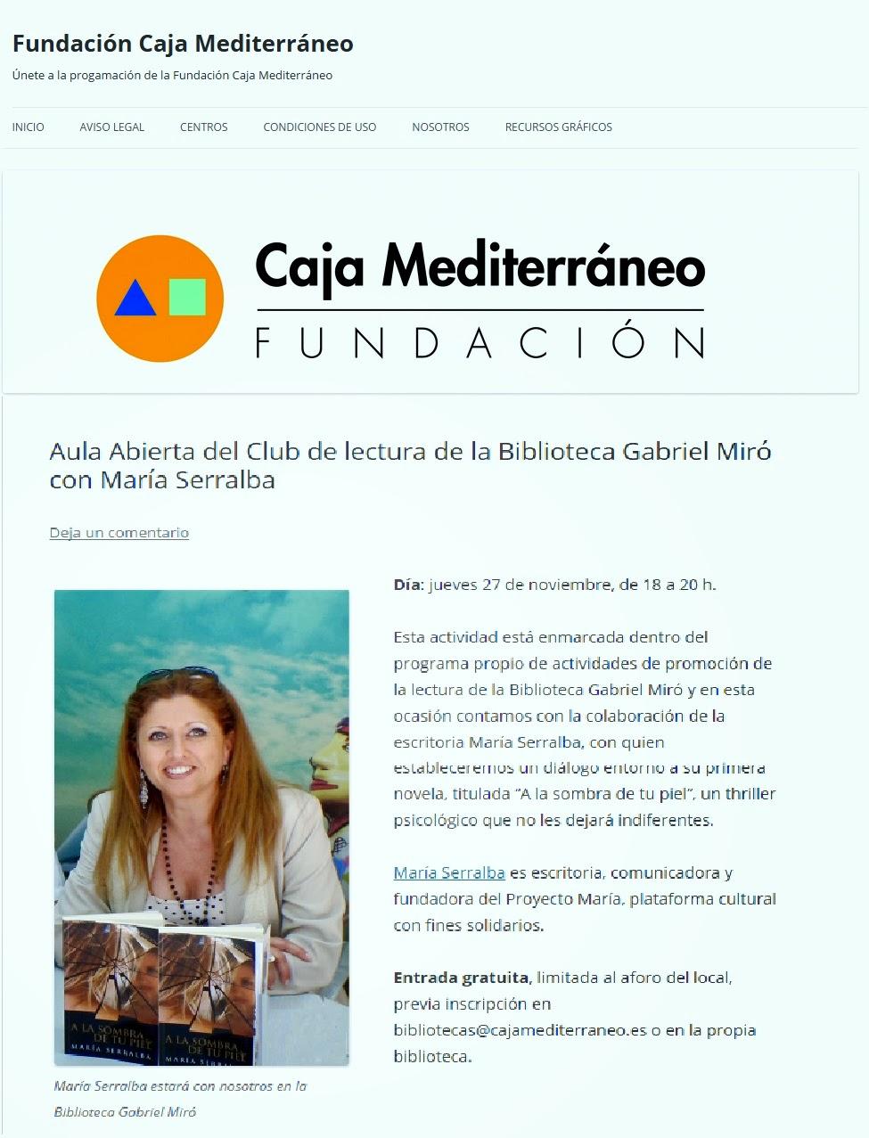 El Blog de María Serralba - Próxima cita: Aula Abierta Club Lectura Biblioteca Gabriel Miró