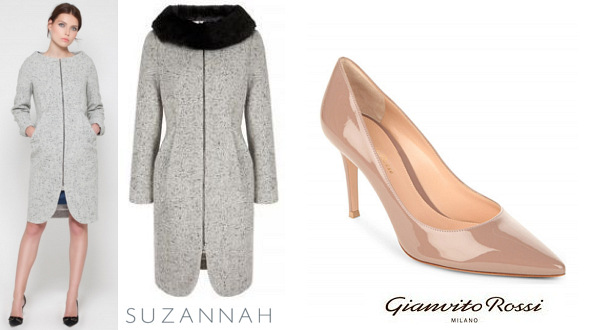 The Countess of Wessex's SUZANNAH Snap Dress Coat and GIANVITO ROSSI Bari 85 Shoes