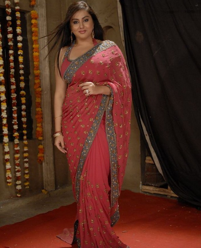 Actress Namitha Stills in Saree hot images