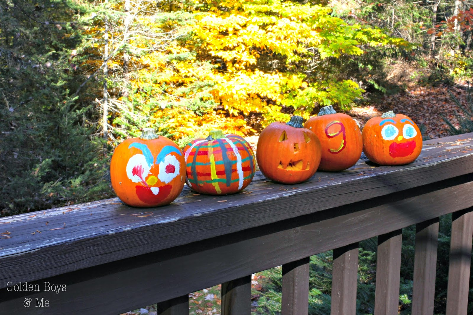 Painted mini pumpkins on porch railing-www.goldenboysandme.com