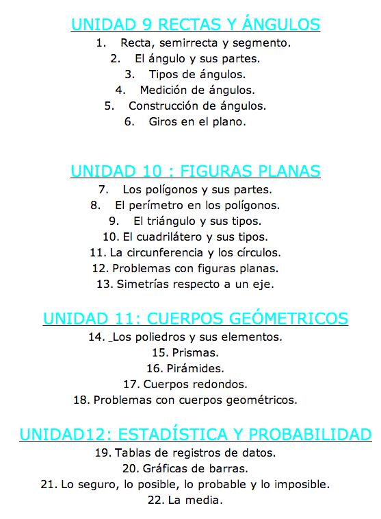 CONTENIDOS MATEMÁTICAS 3T