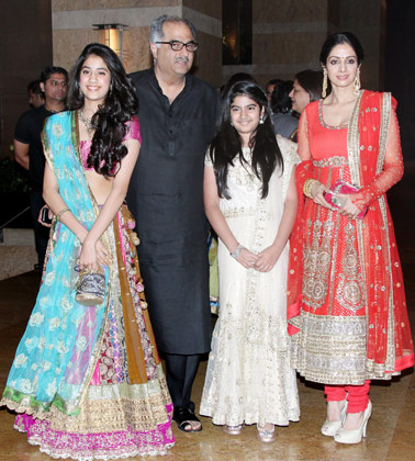 Sridevi Daughter Pic 20121 - Sridevi with Daughters at Vashu Bhagnani's daughter Honey Bhagnani's sangeet