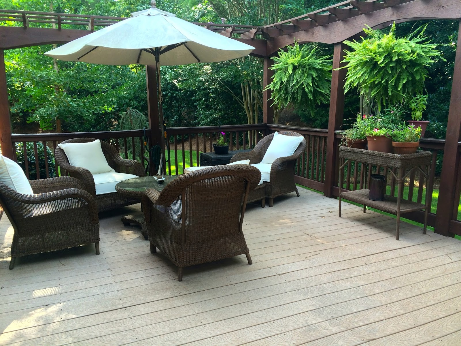 Our Back Deck...beautiful Hanging Ferns And Such A Lovely Seating Area...  This Is Palmetto Outdoor Wicker From Every Oneu0027s Favorite. The Pottery Barn. Part 47