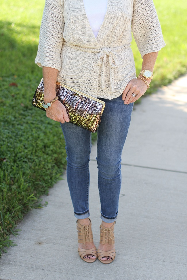 wrap sweater, loft, shoemint, hobo clutch, prada, jcrew, skinny jeans, j brand