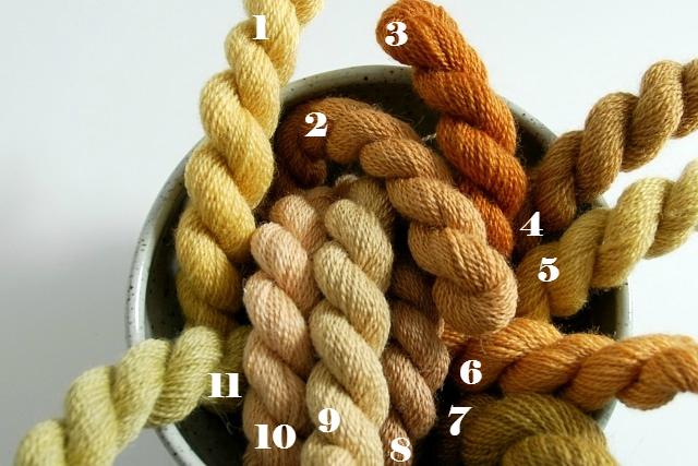 1, 3 & 6 cherry bark on pure wool, 7 & 11 Cherry bark on pure wool, modified with iron, 2 & 10 Cherry bark on alpaca/silk, 4 & 5 cherry leaf on pure wool, 8 & 9 cherry leaf on alpaca/silk.