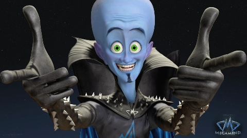 "Megamind grinning ""Megamind"" 2010 animatedfilmreviews.blogspot.com"