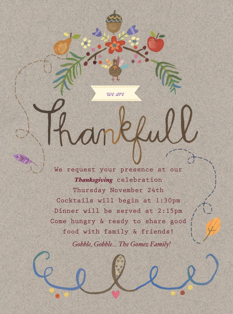 show and tell thanksgiving invite