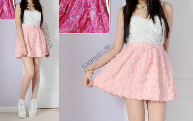 A summery date outfit, with a pastel pink 3D rose skirt, floral necklace, floral lace bustier top, and white spiked platform booties.