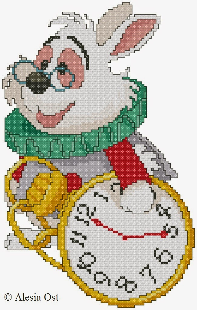 Free cross-stitch patterns, White Rabbit, Lewis Carroll, Alice's Adventures in Wonderland, rabbit, animal, Disney, cartoon, cross-stitch, back stitch, cross-stitch scheme, free pattern, x-stitchmagic.blogspot.it, вышивка крестиком, бесплатная схема, punto croce, schemi punto croce gratis, DMC, blocks, symbols, patrones punto de cruz