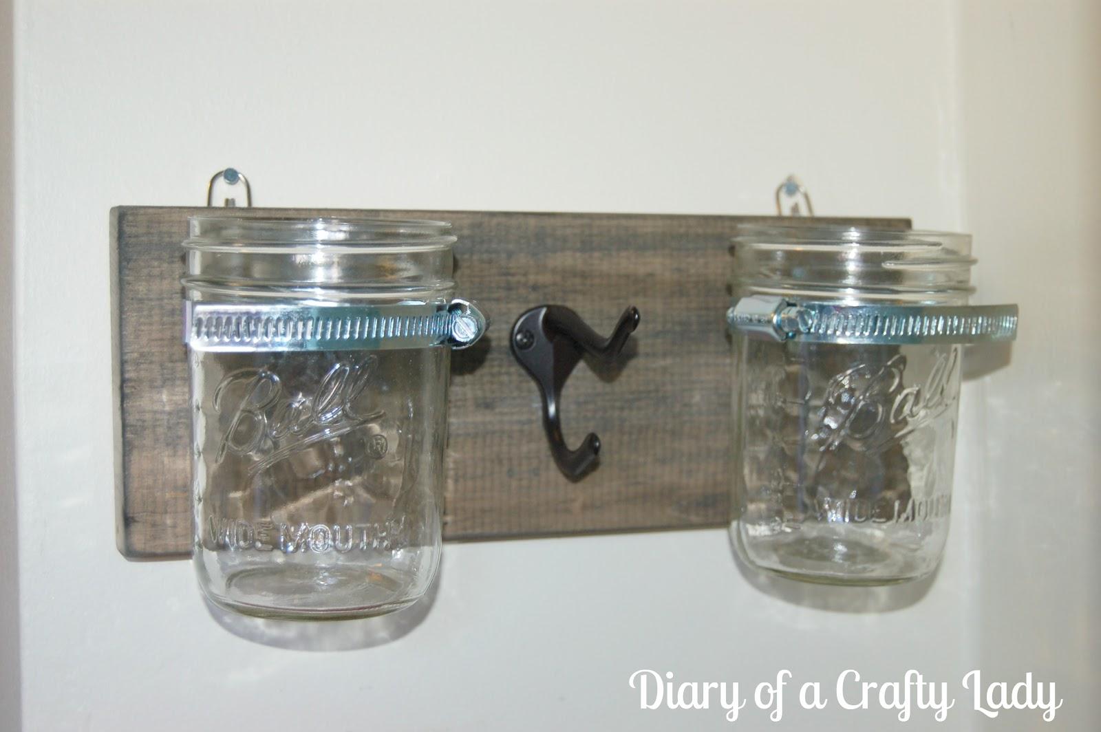 Diary of a crafty lady mason jar wall holder for Mason jar holder ideas
