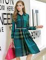 New 2015 Autumn Long Sleeve Big Checkered Skater Past Knee Length Dress