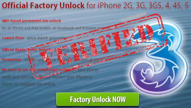 Unlock Three UK iPhone