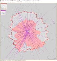 périmètre de transport urbain et principaux flux de déplacements domicile-travail en 2010