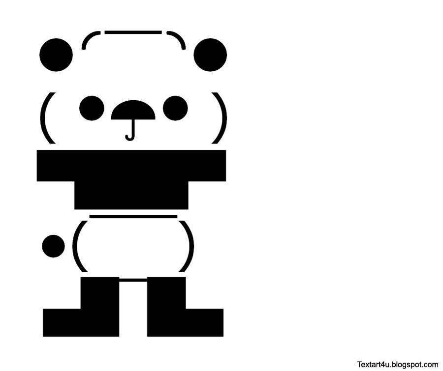 Unicode Panda Picture With Codes Cool Ascii Text Art 4 U
