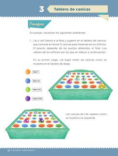 Apoyo Primaria Desafíos matemáticos 3er grado Bloque 1 lección 3 Tablero de canicas