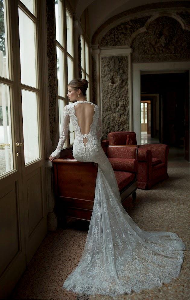 suknia z odkrytymi plecami, długa suknia do ślubu, moda ślubna 2015