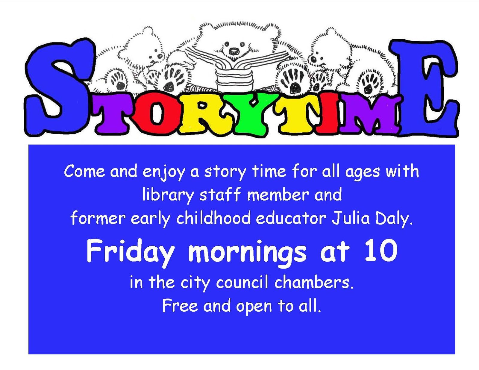 Friday Morning Story Time for all ages!