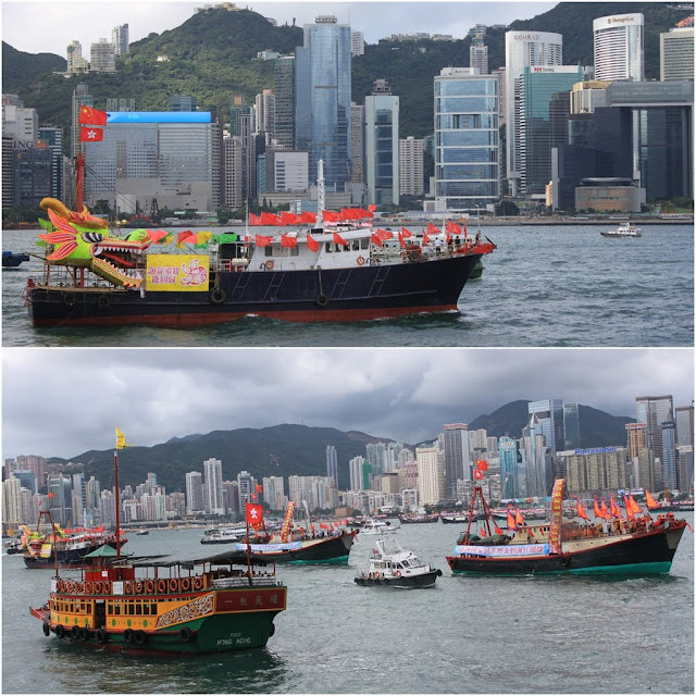 15th anniversary celebration of Hong Kong Handover to China on 1st July 2012 with these Chinese ships sailing by the sea in Hong Kong