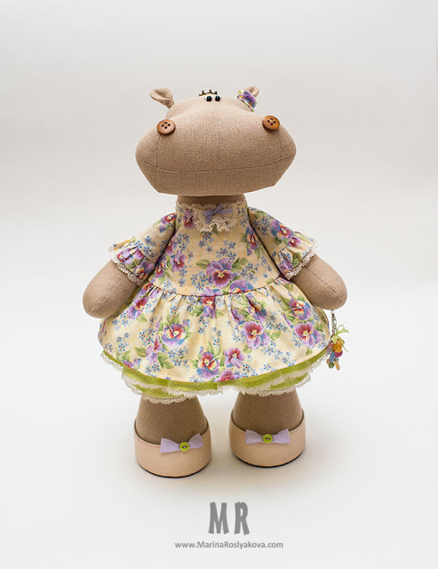 Текстильная игрушка Бегемотик принцесса Анютка. Игрушки ручной работы от Марины Росляковой, hande made, Marina Roslyakova