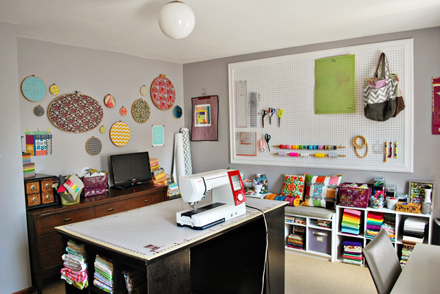 Sewing room of the month art gallery fabrics the for Sewing room layout