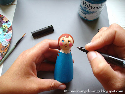 DIY creating the wooden painted Christmas angel peg doll