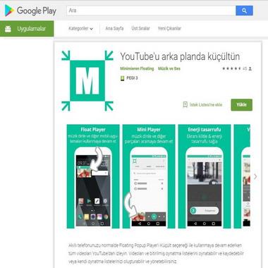play google com - store - youtube arka planda küçültün