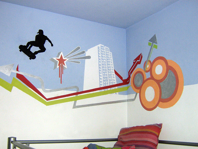 Artalabast pintura mural juvenil for Mural habitacion juvenil