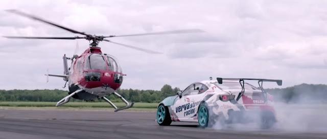 ヘリコプターと1000馬力のトヨタ86が競演する迫力の映像!