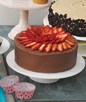 Yellow Cake With Strawberry Filling and Chocolate Sour Cream Frosting ...