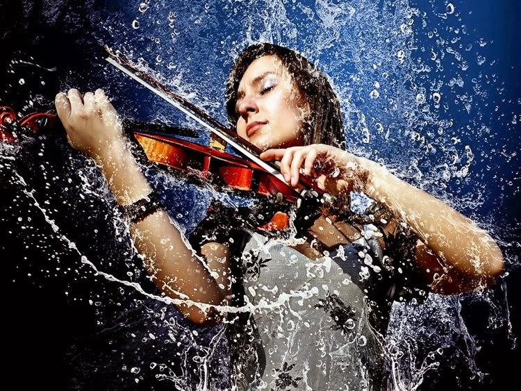Girl Playing Violin in Rain