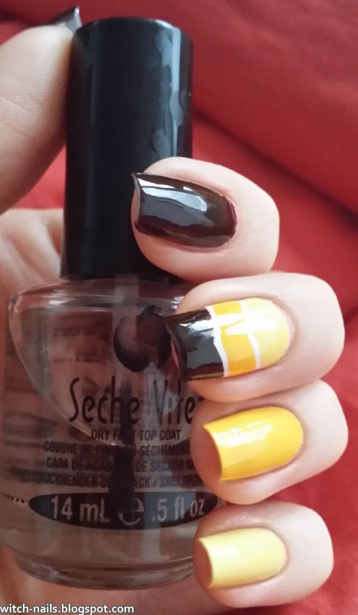 brown yellow nails with white stripes and Seche Vite top coat