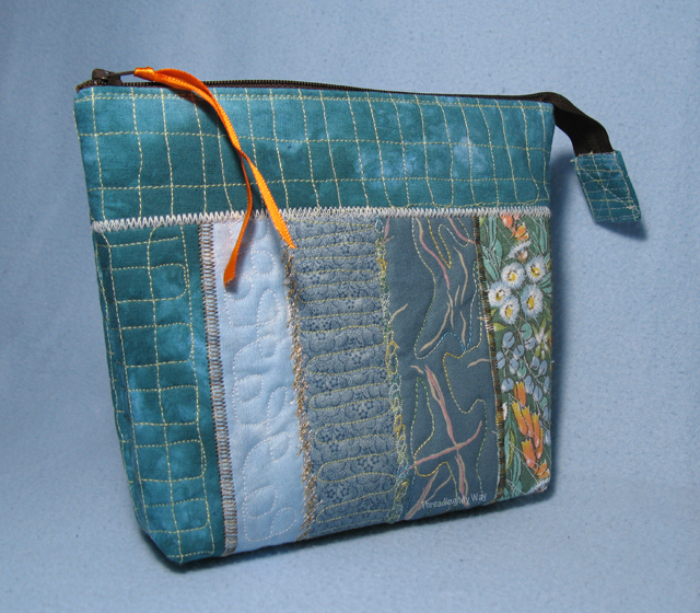 Free Motion Machine Embroidered Zippered Pouches ~ Threading My Way
