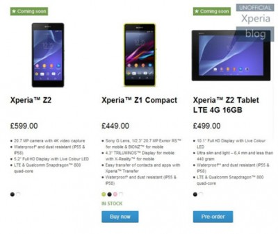 Kenapa Sony Hapus Pre Order Xperia Z2 di Web Official Store?