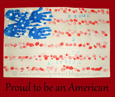 Handprint &amp; Fingerprint Flag - American