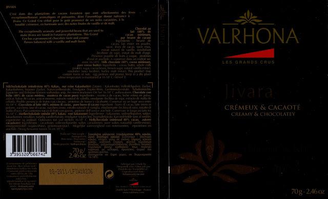tablette de chocolat lait dégustation valrhona les grands crus jivara 40