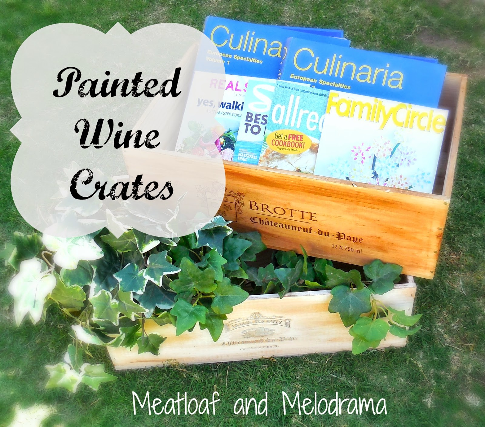 painted french wooden wine crates
