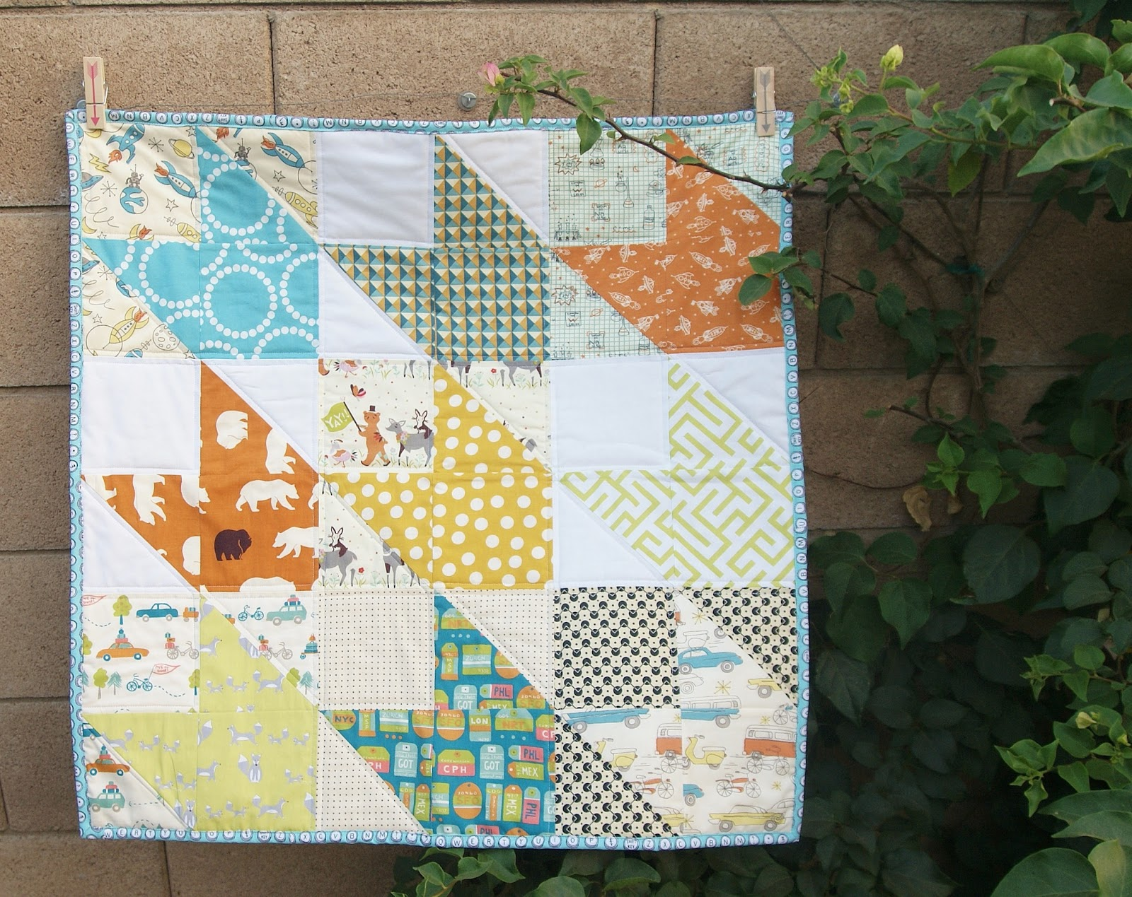 Fabric mutt chevron baby quilt for Boy quilt fabric