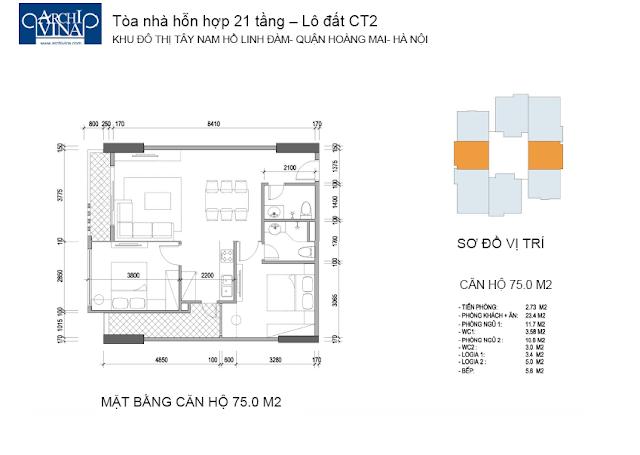 Căn diện tích 75 m2 2 phòng ngủ chung cư b1b2ct, b2ct2 tây nam linh đàm