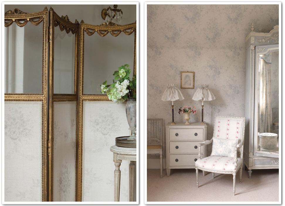 Decorare con la carta da parati   shabby chic interiors