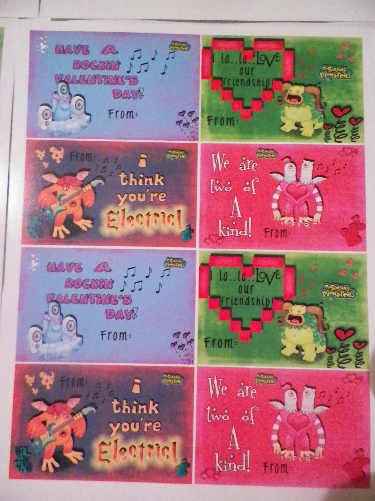 My Singing Monster's DIY Valentine Card Tut. Copyright Cassie's Creative Crafts