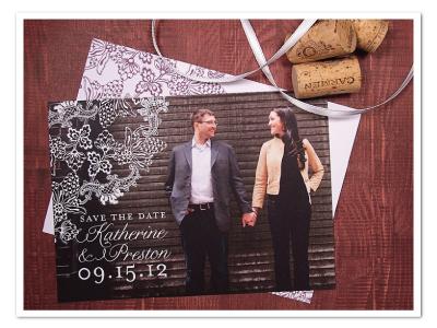 printable vintage winery grape theme photo save the date postcard design