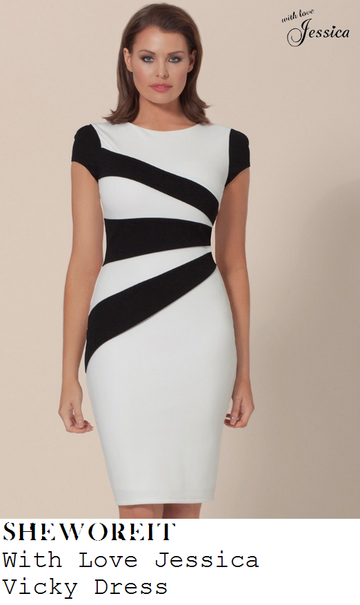 jessica-wright-black-and-white-colour-block-monochrome-panel-cap-sleeve-bodycon-pencil-dress