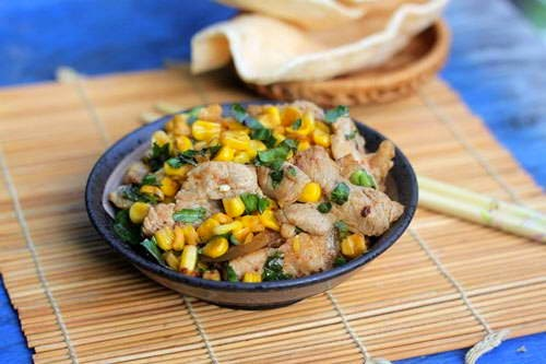 Fried Pork Belly with Sweet Corn - Thịt Ba Chỉ Xào Bắp