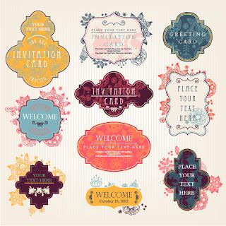 飾りフレームの招待状テンプレート vintage invitation card templates and decorative frames イラスト素材3