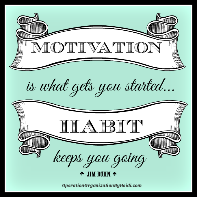 Motivation is what gets you started, Habit Keeps you Going. Operation Organization by Heidi: Professional Organizer Peachtree City, Newnan, Senoia, Fayetteville.