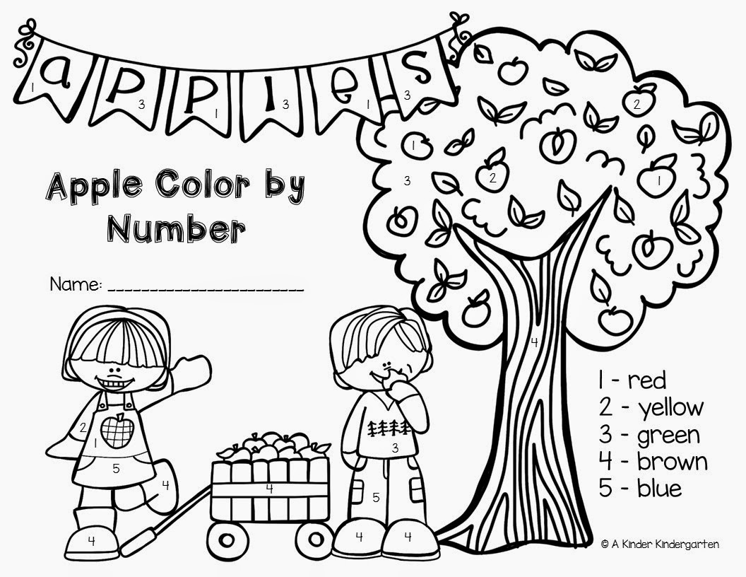 Worksheet Color By Number Kindergarten a kinder kindergarten apple color by number number